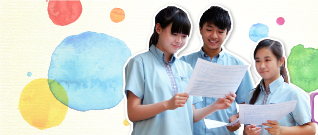 Letterhead of HKDSE newsletter: photo of students